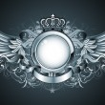 Vector illustration of heraldic frame or badge wit...