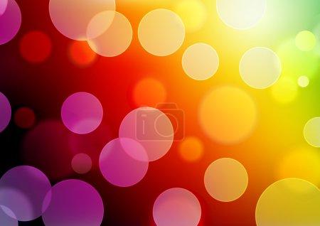 Illustration pour Illustration vectorielle du fond lumineux abstrait rouge avec des points lumineux néon flous - image libre de droit