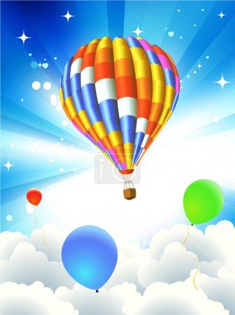 Illustration pour Illustration vectorielle de fond abstrait coloré avec ballon funky - idéal pour les cartes postales de voeux et d'anniversaire, flyers et bien d'autres articles de célébration - image libre de droit