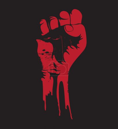 Vector illustration of a blooding clenched fist he...