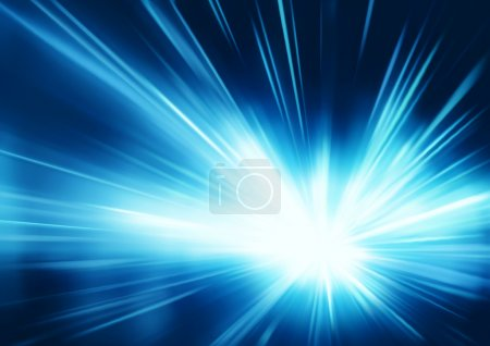 Illustration for Vector illustration of abstract background with blurred magic neon blue light rays - Royalty Free Image