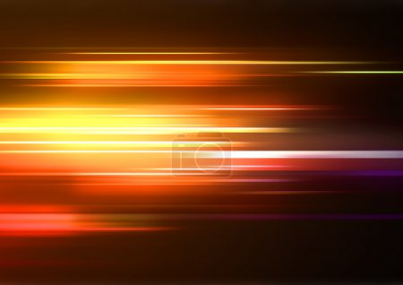 Illustration for Vector illustration of abstract background with blurred magic neon orange lights - Royalty Free Image
