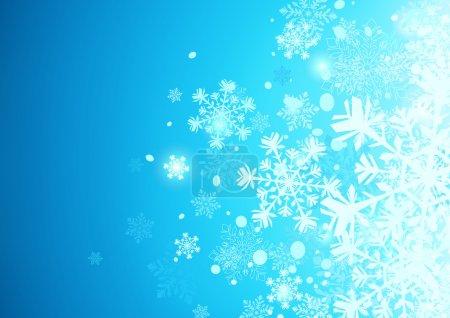 Illustration pour Illustration vectorielle du fond abstrait bleu avec des flocons de neige frais - image libre de droit