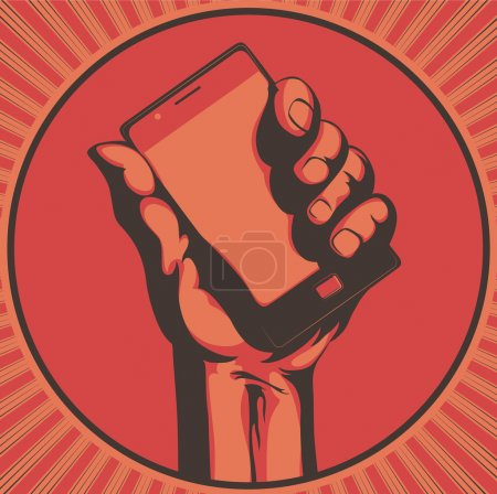 Illustration for Vector illustration in retro style of a hand holding a cool modern cell phone - Royalty Free Image
