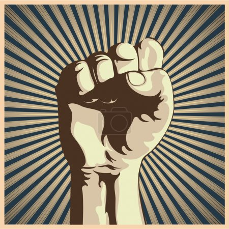 Illustration for Vector illustration in retro style of a clenched fist held high in protest. - Royalty Free Image