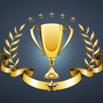Vector illustration of golden trophy with laurel w...