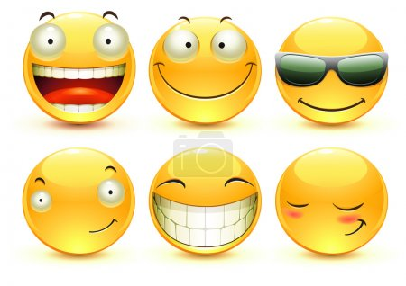 Illustration for Vector illustration set of cool glossy Single Emoticons - Royalty Free Image