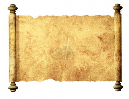 Foto de Viejo pergamino. aislado en blanco - Imagen libre de derechos