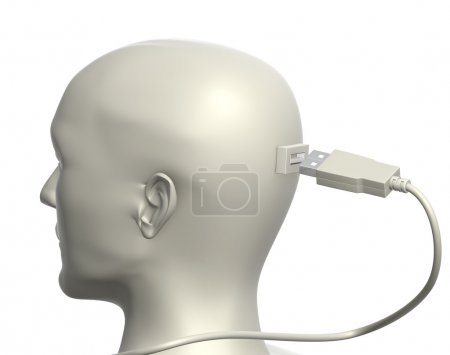 Photo for USB cable and human head. Isolated over white - Royalty Free Image