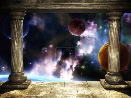 Photo pour Cadre avec deux colonnes médiévales et de la scène de l'espace - image libre de droit