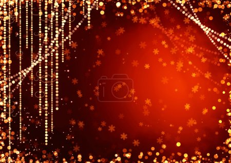 Photo for Abstract curtains of holiday garland on red background - Royalty Free Image