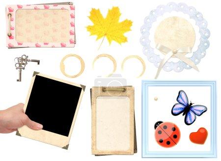 Photo pour Éléments de la collection pour le scrapbooking. objets isolés sur blanc - image libre de droit