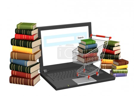Photo for Conceptual image - library online. 3d render - Royalty Free Image