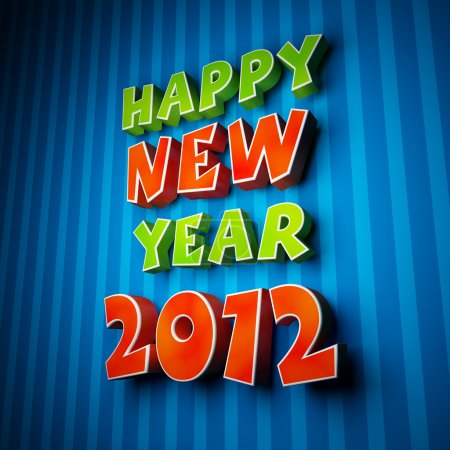 Colorful words of happy new year 2012