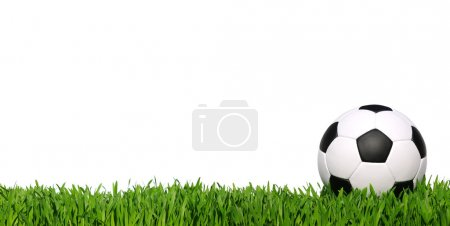 Photo for Soccer ball on green grass isolated on white - Royalty Free Image
