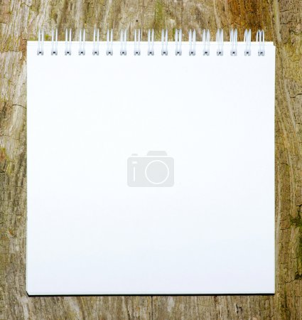 Photo pour Fond de papier blanc vierge sur le bois - image libre de droit