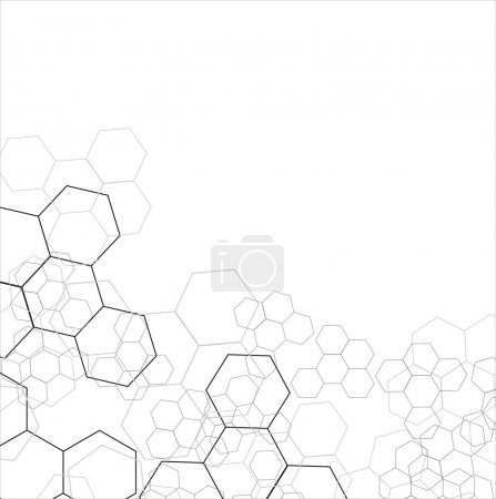 Illustration for Molecular chains in the form of hexagon on the white background - Royalty Free Image