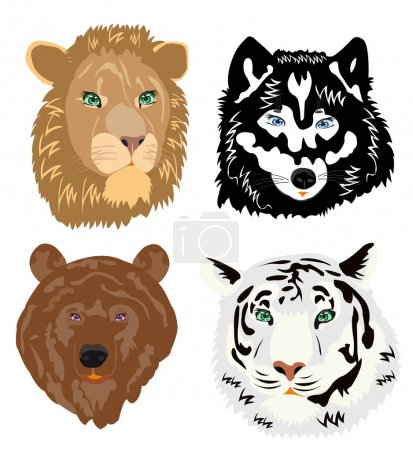 Illustration portrait ravenous beasts on white background