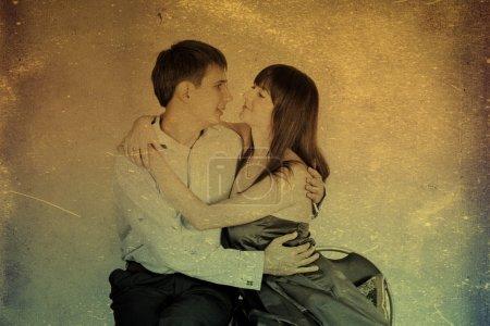 Photo pour Image rétro avec couple d'amour, motif rétro - image libre de droit