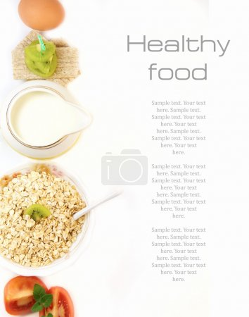 Photo for Healthy food concept on a white background with place for text. - Royalty Free Image