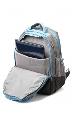 Backpack with a laptop inside isolated