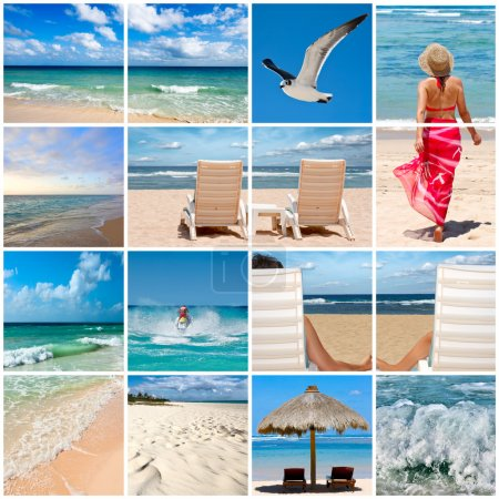 Photo for Collage of phtoos about beach vacations - Royalty Free Image