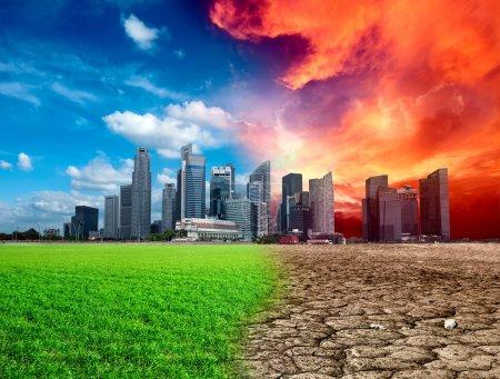 Photo pour Effet de réchauffement global en ville - image libre de droit