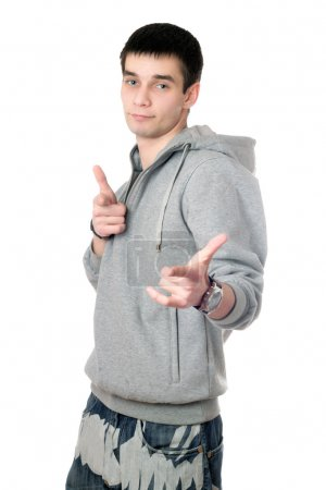 Young man in gray sweatshirt