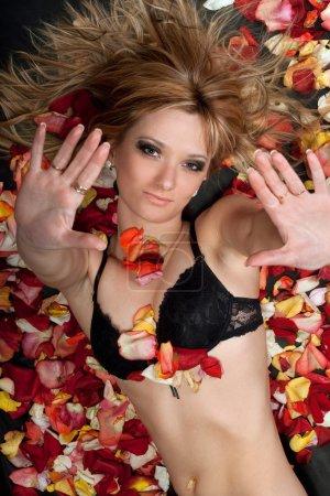 Verspielte Blondine liegt in Rosenblättern