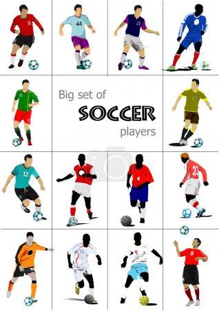 Big set of soccer players. Colored Vector illustration for desig