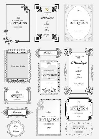 Set of ornate vector frames and ornaments with sample text. Perf