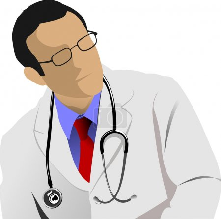 Medical doctor with stethoscope on white background. Vector ill