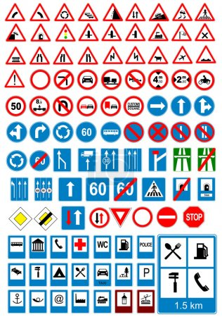 Illustration for Road sign icons. Traffic signs. Vector illustration - Royalty Free Image