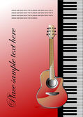 Piano with guitar Cover for note book or brochure Vector