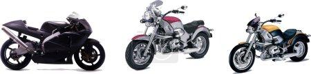 Photo pour Trois illustrations vectorielles de la moto. Aide aux concepteurs - image libre de droit