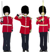 Vector image of three beefeater England guards