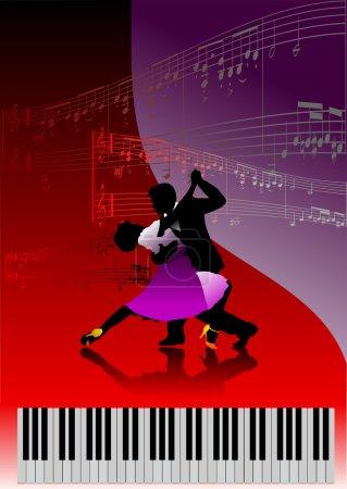 Illustration pour Piano avec couple dansant et musique d'impression. Vecteur - image libre de droit