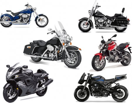 Six vector illustrations of motorcycle