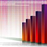 Three-d bar chart and upwards line graph financial...