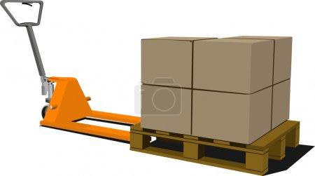 Illustration for Boxes on hand pallet truck. Forklift. Vector illustration - Royalty Free Image