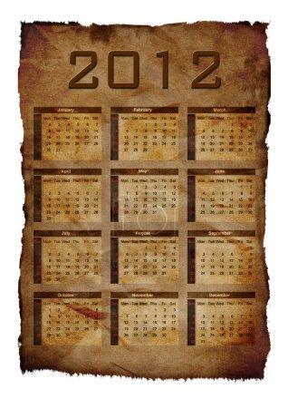 Photo pour Modèle de calendrier annuel 2012 ans fond de papier. semaines commencent le dimanche - image libre de droit