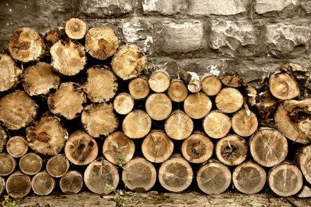 Photo pour Pile de bois de chauffage - image libre de droit