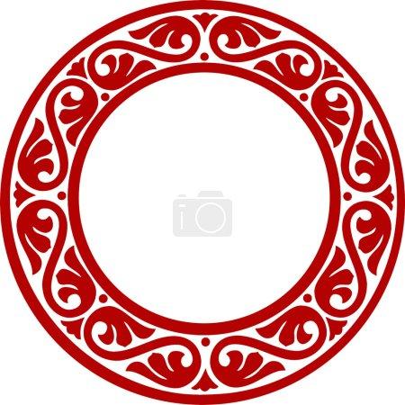Illustration pour Cadre de cercle décoratif traditionnel est-européen avec des fleurs abstraites - image libre de droit