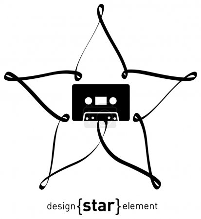 Audiocassette and design element star from tape
