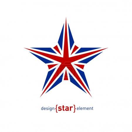Photo pour La star d'élément de design avec les couleurs du drapeau Royaume-Uni - image libre de droit