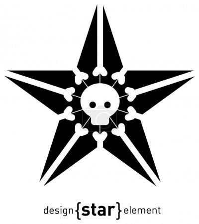 Raster design element star with skull and bones