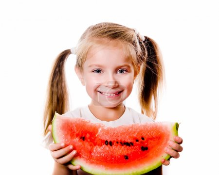 Photo for Little girl eating big piece of watermelon isolated on white - Royalty Free Image