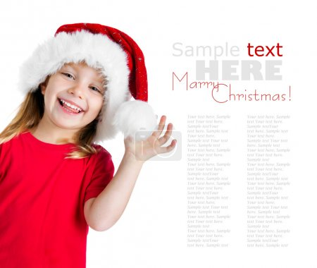 Photo for Cute little girl in the santa claus hat - Royalty Free Image