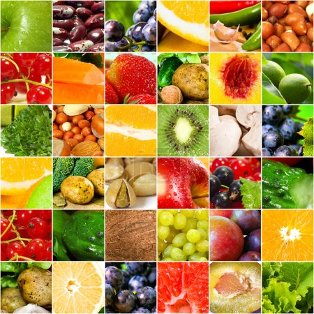 Photo for Fruits and vegetable collage. Healthy nutrition concept - Royalty Free Image
