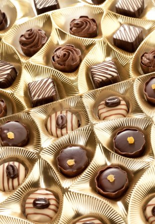 Photo for Chocolate sweets in box close up - Royalty Free Image